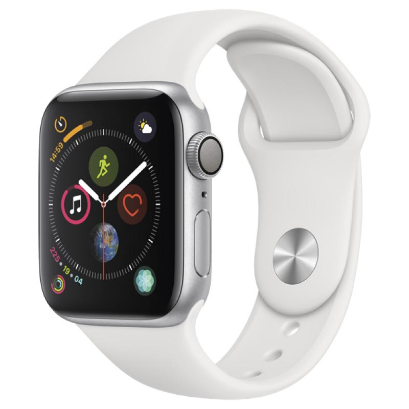 Фото Apple Watch S4 Sport 44mm Silver Al + White Sport Band