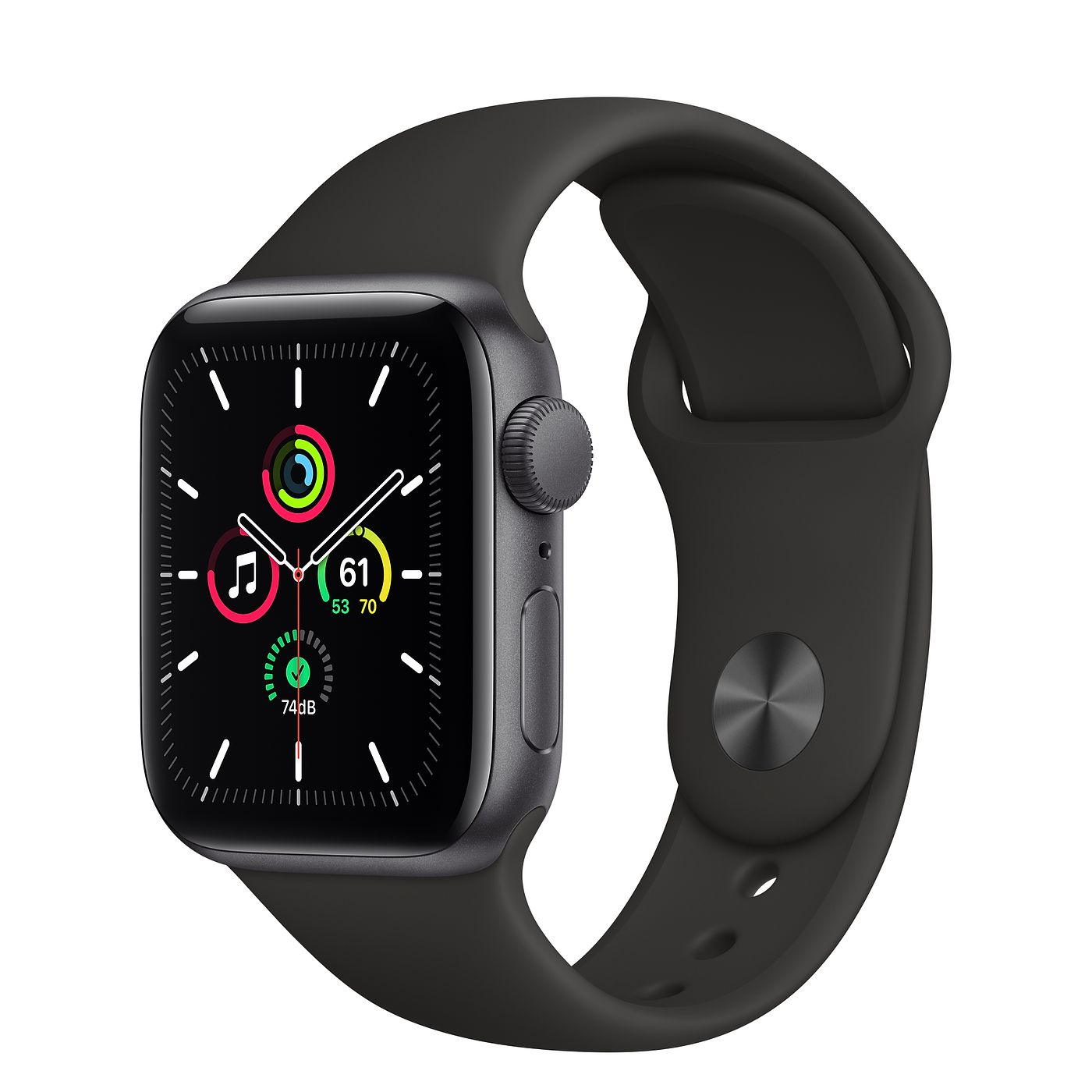 Фото Apple Watch SE 44mm Space Gray Aluminum Case with Black Sport Band