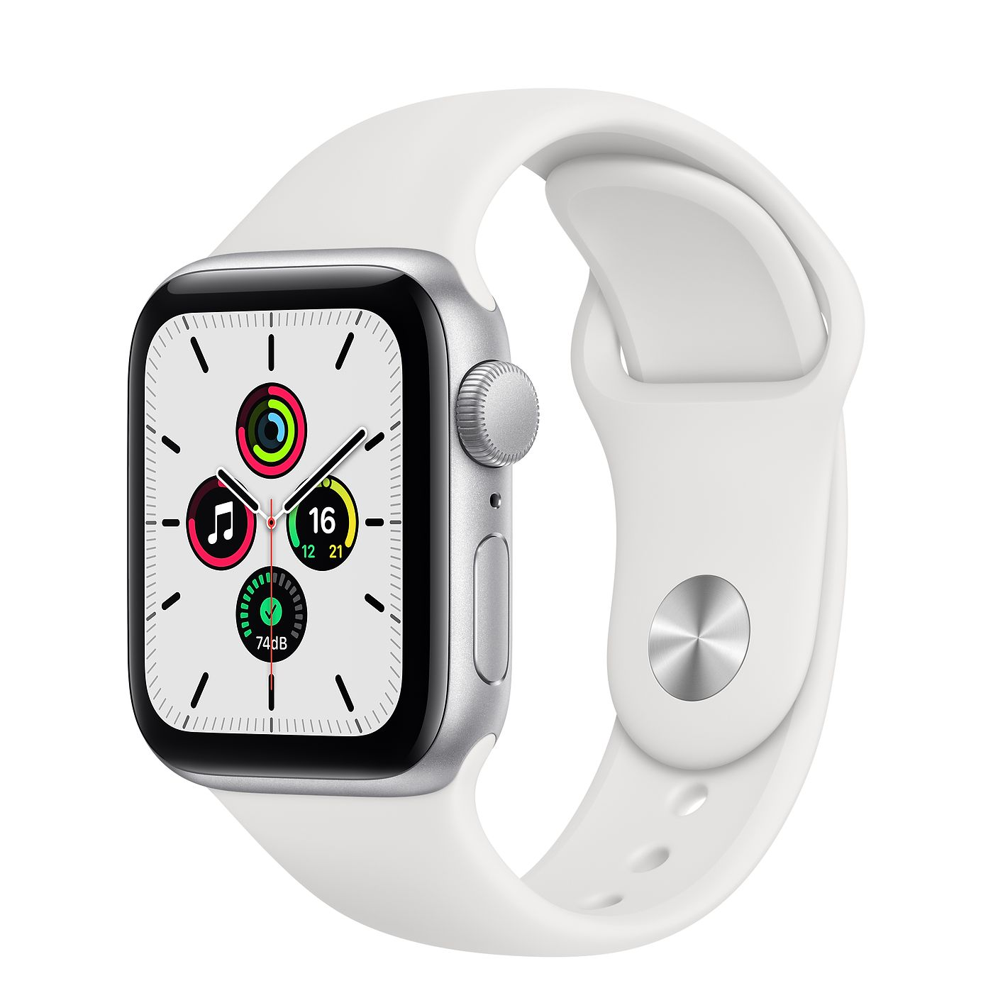 Фото Apple Watch SE 44mm Silver Aluminum Case with White Sport Band