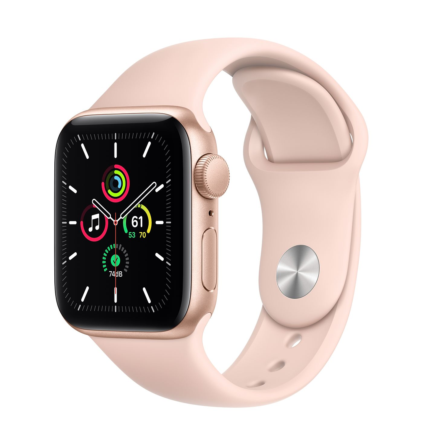 Фото Apple Watch SE 44mm Gold Aluminum Case with Pink Sand Sport Band